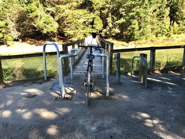 Bike bars at the footbridge.
