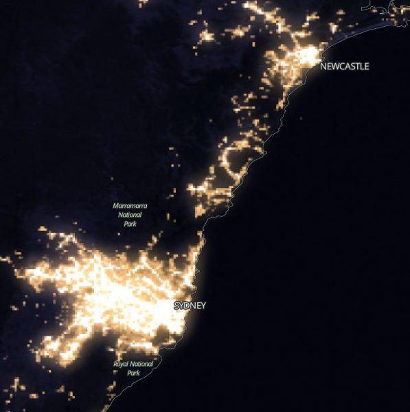 East coast Australia night lights.