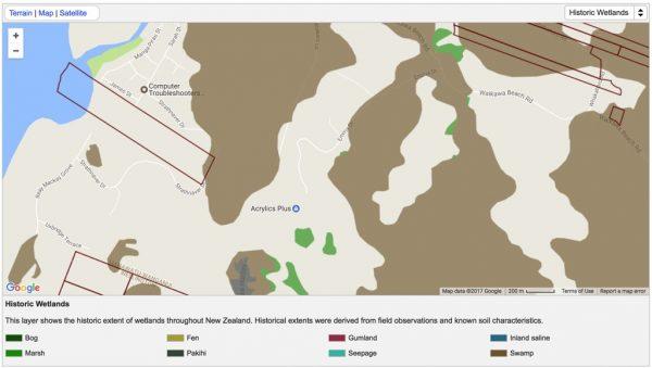 Historic swamp areas.