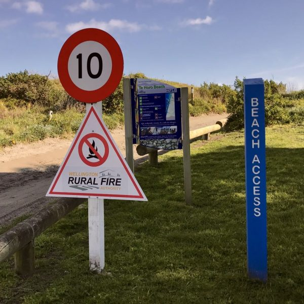 Te Horo beach signs.