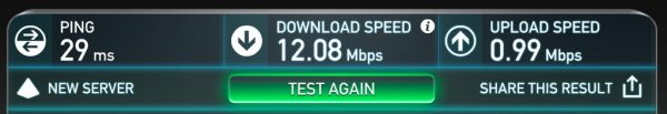 My internet speed today.