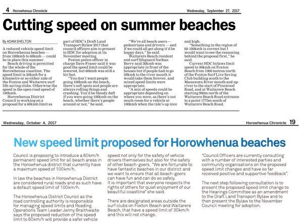 Beach speed limit proposals, 2017.