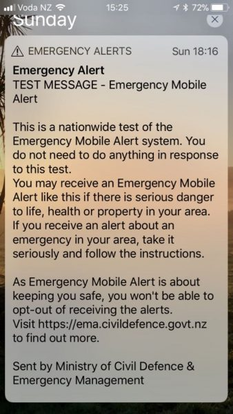 Mobile Emergency Alert notification.