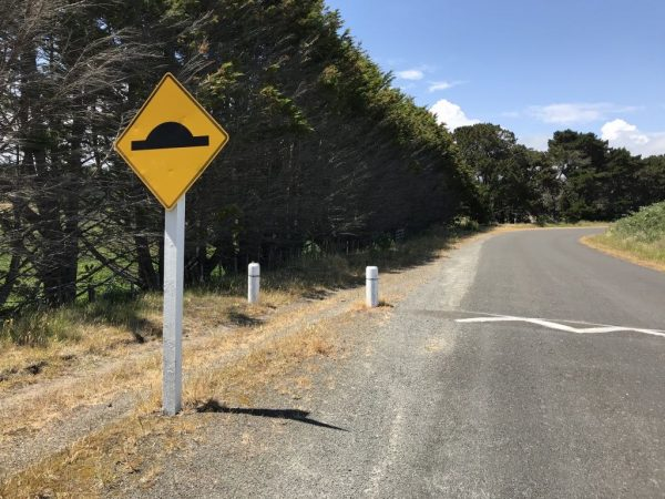 Cyclists have to contend with shingle and speed bumps on Strathnaver Drive.