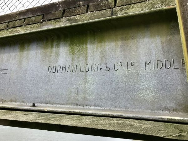 Dorman Long and Co steel on the footbridge.
