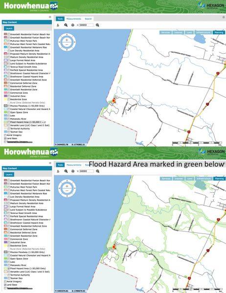 Flood hazard area marked in green.