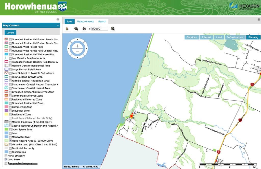 Flood hazard area shaded in green.