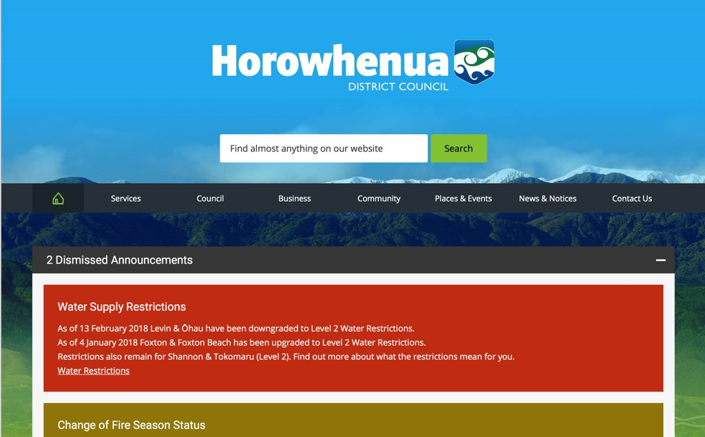 Horowhenua District Council front page 20180219.