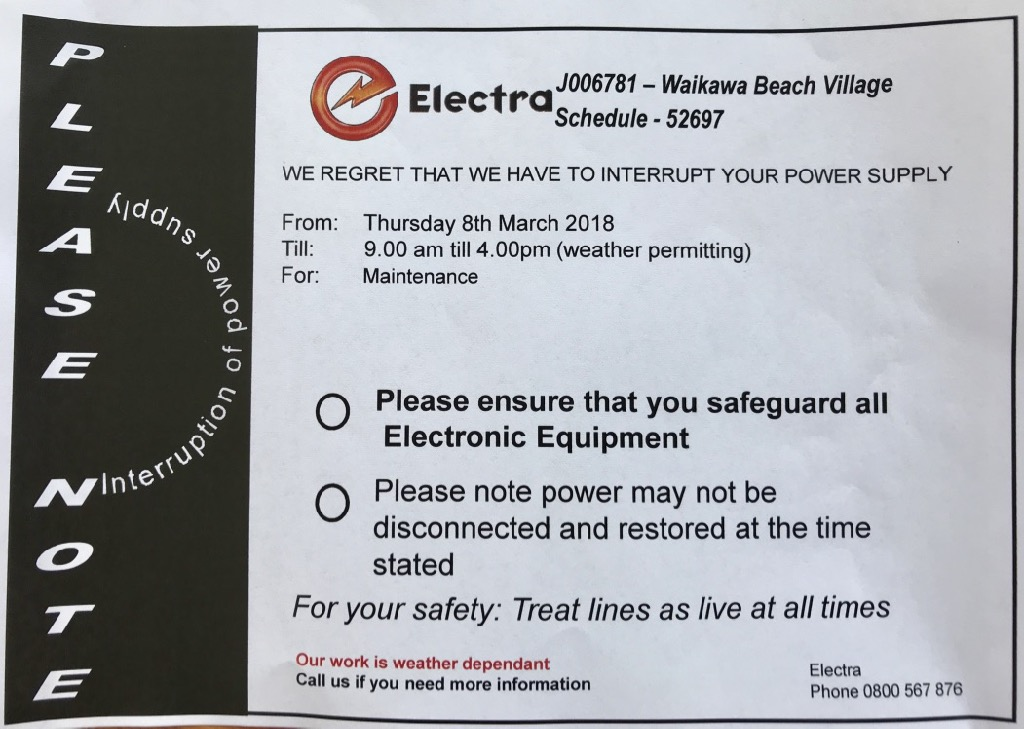 Power outage planned for 08 March 2018 all day