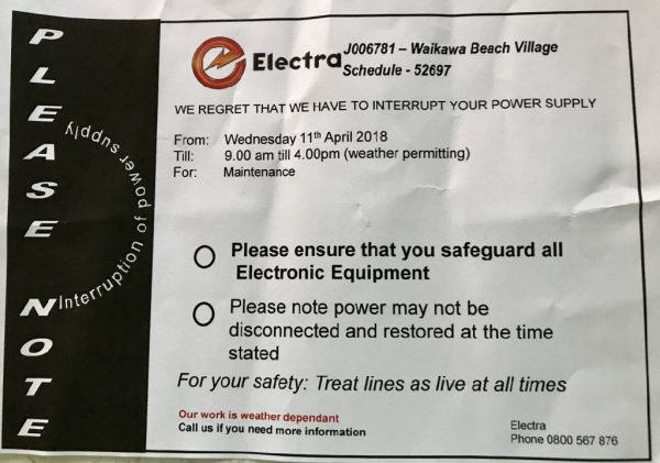 11 April 2018 power outage.