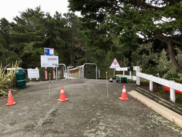 Footbridge repairs Day One.