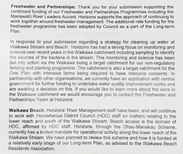 Horizons letter re Long Term Plan 2018 - river and beach.