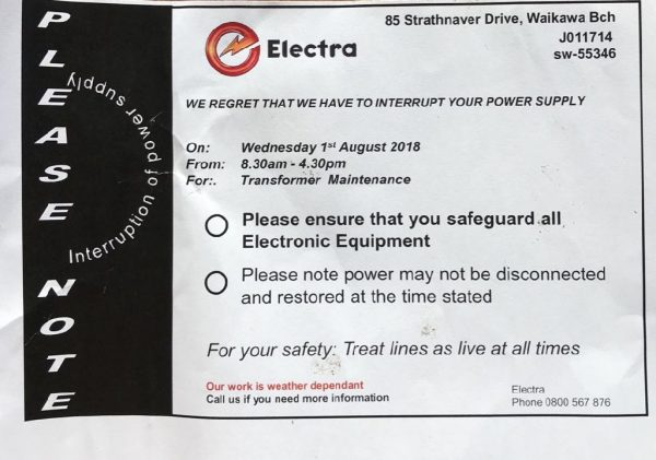 Power will be off 01 August 2018 all day for transformer maintenance.