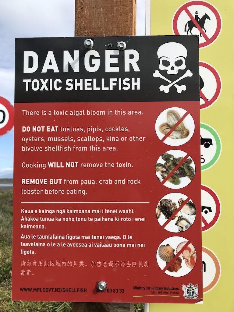 Danger toxic shellfish sign at vehicle entrance.