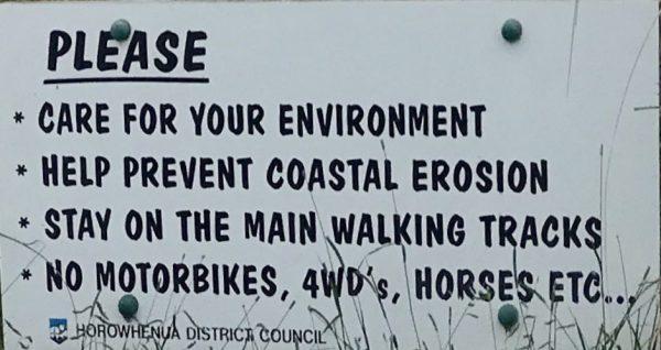 No motorbikes, 4WDs, horses etc.