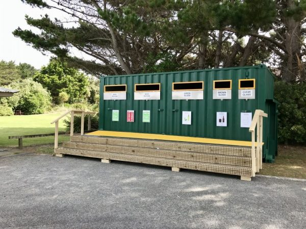 Recycling bins at Hank Edwards Reserve.