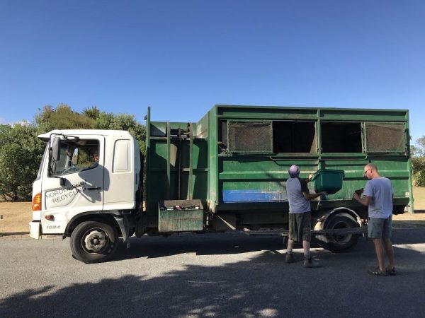 Recycling truck at Hank Edwards Reserve.