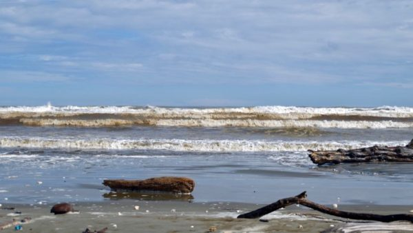 High tide beach with sandy surf.