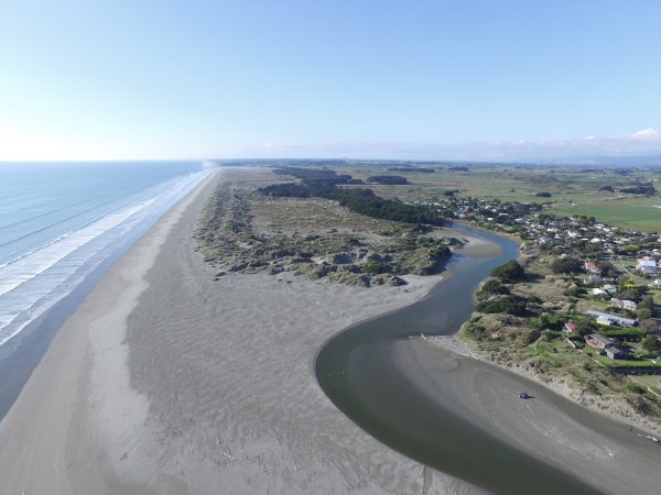 River and coast, looking north.