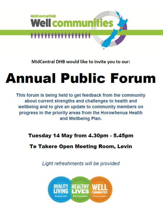 Annual public forum poster.