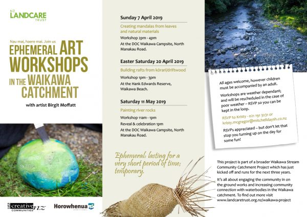 Waikawa Water Catchment Project Arts Workshops.