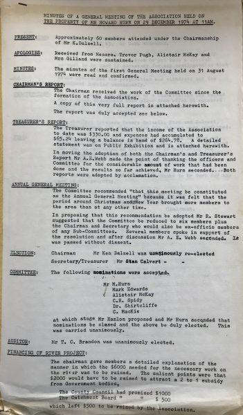 WBRA AGM 29 December 1974 Page 1.