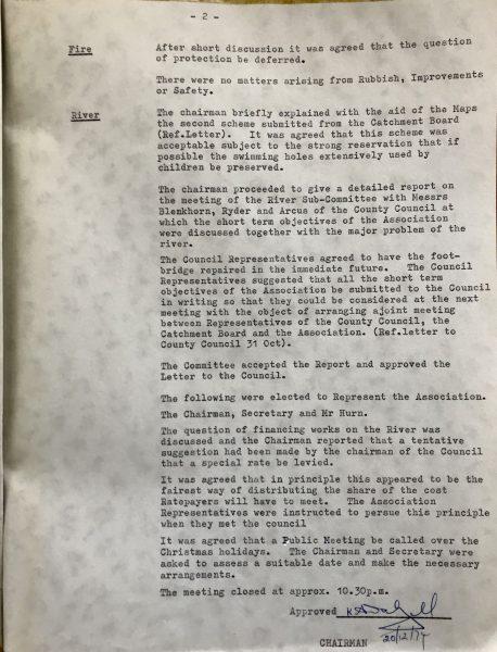 WBRA Minutes 01 November 1974 Page 2.