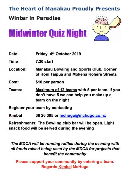 MDCA Quiz Night Friday 04 October 2019.