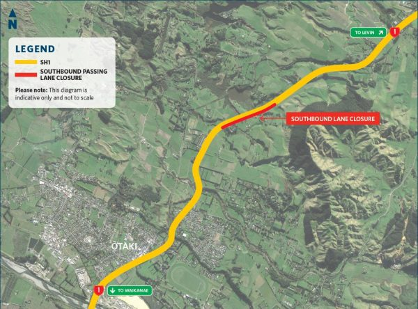 Map showing passing lane location.