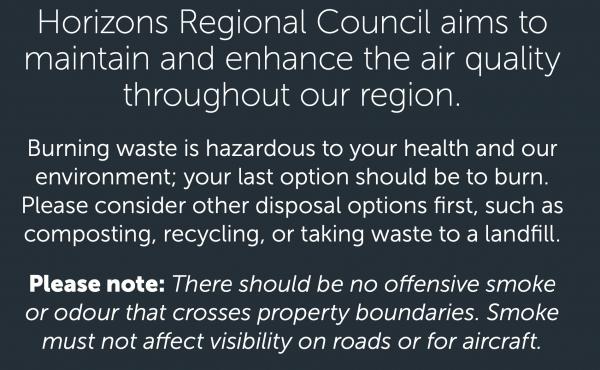 Horizons Regional Council burning info.