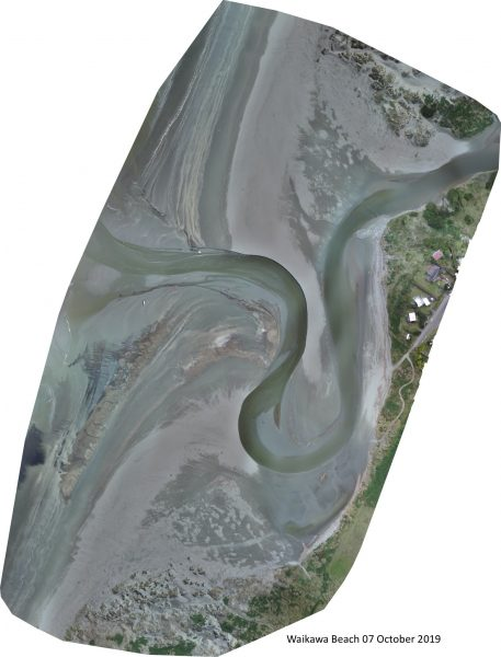 Drone photo of the river mouth, taken on 07 October 2019.
