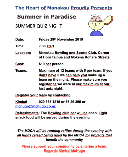 MDCA Quiz Night flyer 29 November 2019.