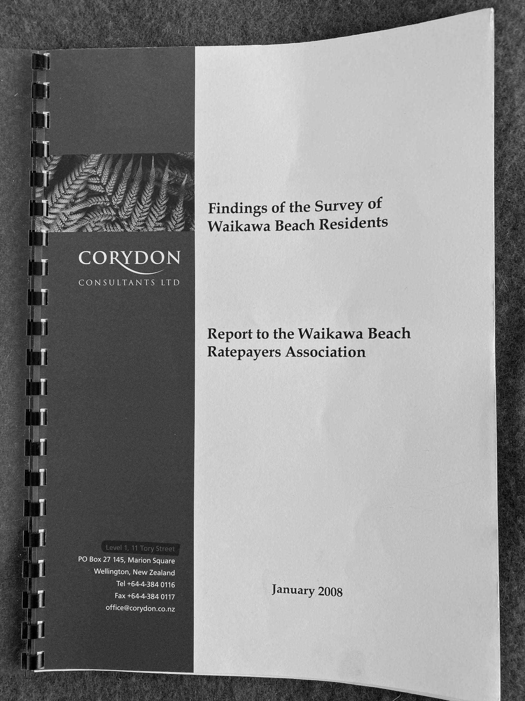 2008 Survey of Waikawa Beach Residents - cover.