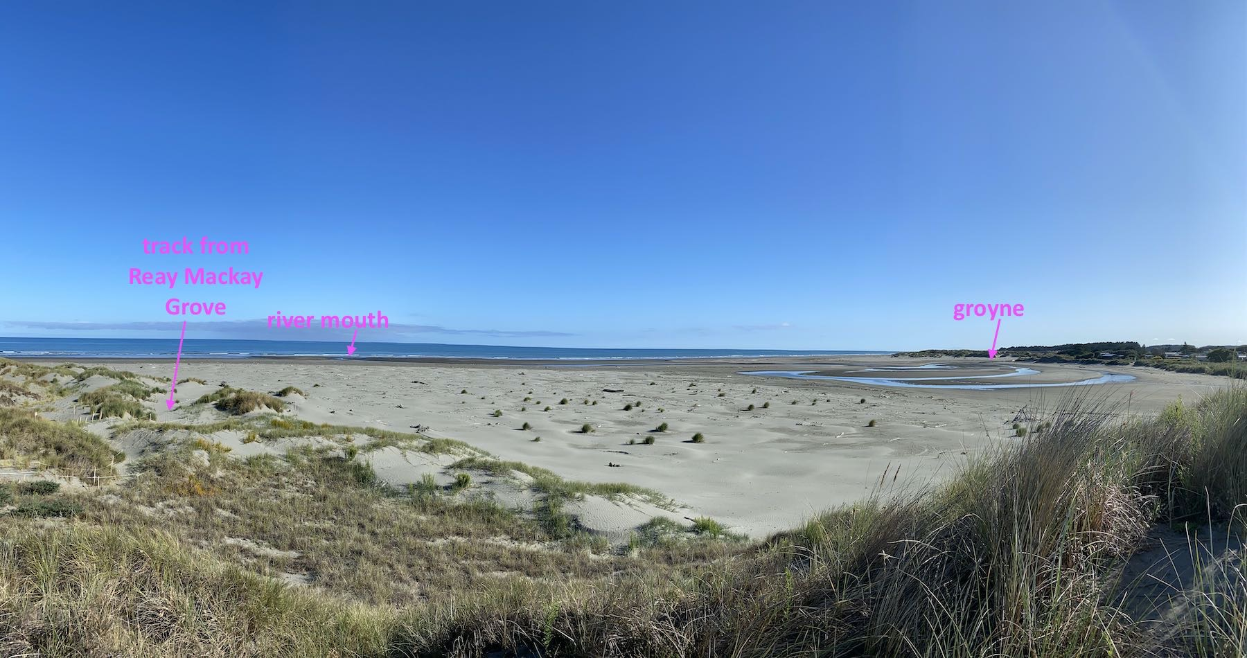 Annotated panorama photo showing how far south the river mouth has moved.