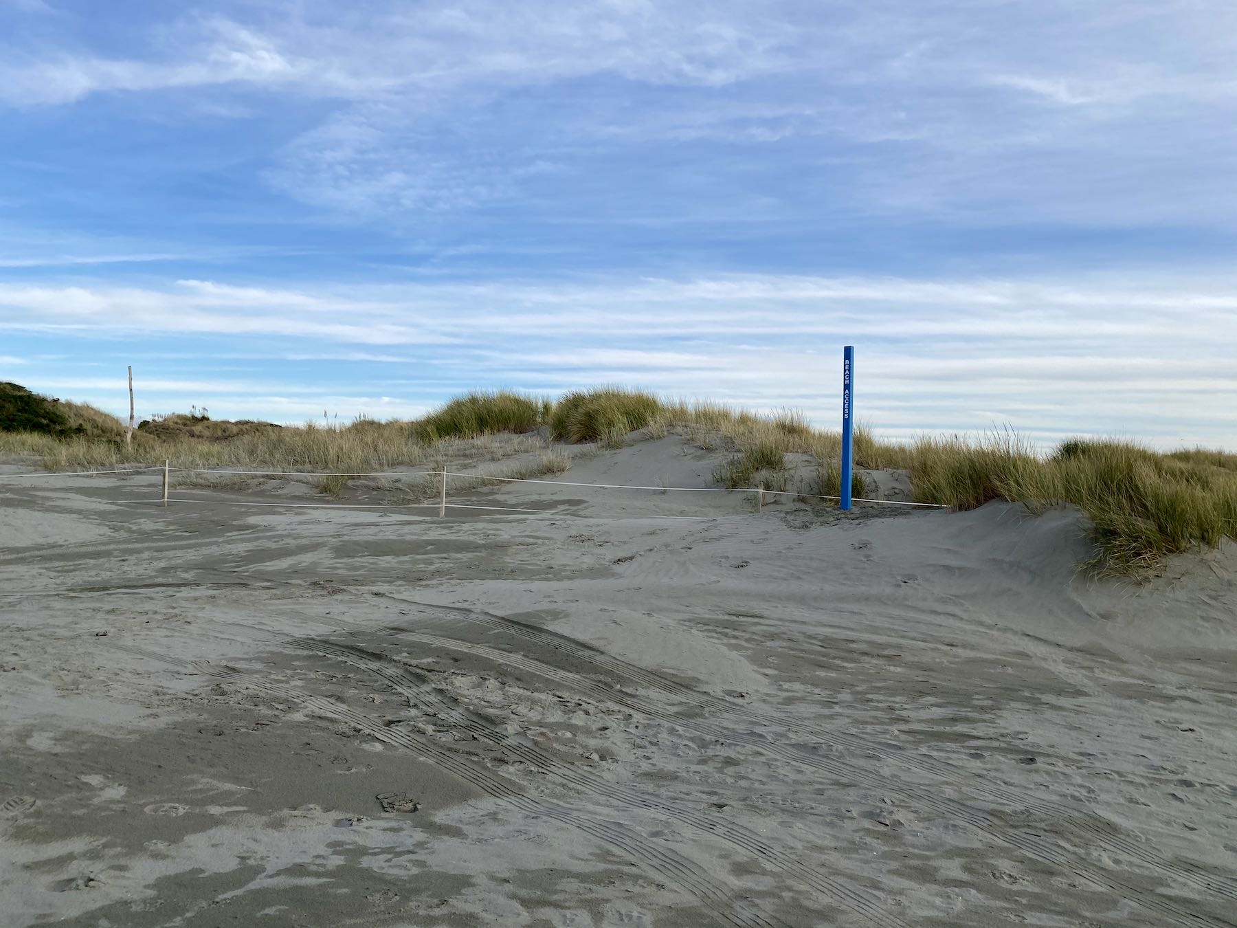North track, beach end, beach access post.