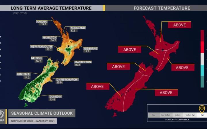 Niwa's forecasted temperatures for November 2020 - January 2021. Photo: NIWA.